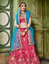 image of Party Wear Designer Art Silk Fabric Pink Embroidered Lehenga Choli