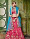 image of Artistically Embroidered Art Silk Fabric Designer Pink Lehnega Choli