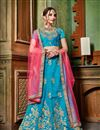 image of Sky Blue Festive Wear Art Silk Fabric Embroidered 3 Piece Wedding Wear Lehenga Choli
