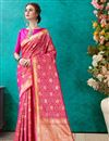 image of Art Silk Designer Festive Wear Fancy Dark Pink Saree With Weaving Work