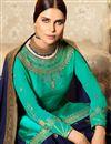 photo of Embellished Function Wear Cyan Designer Sharara Dress In Georgette