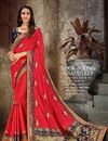 image of Art Silk Fabric Designer Embroidered Saree In Red Color With Attractive Blouse