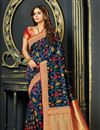 image of Navy Blue Color Wedding Wear Saree In Art Silk Fabric With Embroidery Work And Designer Blouse