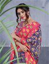 photo of Casual Style Blue Designer Printed Art Silk Fancy Saree