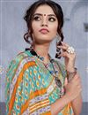 photo of Fancy Casual Wear Art Silk Designer Printed Saree In Cyan