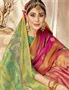 photo of Art Silk Fabric Kanchipuram Style Pink Color Traditional Saree