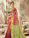 image of Art Silk Fabric Kanchipuram Style Pink Color Traditional Saree