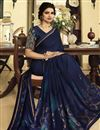photo of Prachi Desai Festive Wear Navy Blue Designer Printed Georgette Fancy Saree