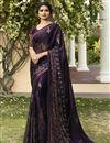 image of Prachi Desai Purple Designer Festive Wear Georgette Fancy Printed Saree