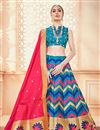 image of Jacquard Work Banarasi Silk Fabric Sky Blue Function Wear Lehenga Choli With Party Wear Blouse