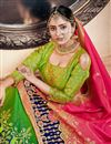 photo of Green Banarasi Silk Fabric Sangeet Wear 3 Piece Jacquard Work Lehenga With Enigmatic Blouse