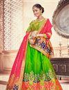 image of Green Banarasi Silk Fabric Sangeet Wear 3 Piece Jacquard Work Lehenga With Enigmatic Blouse
