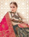 photo of Grey Banarasi Silk Fabric Wedding Wear 3 Piece Lehenga Choli With Jacquard Work