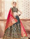 image of Grey Banarasi Silk Fabric Wedding Wear 3 Piece Lehenga Choli With Jacquard Work