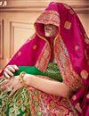 photo of Banarasi Silk Fabric Designer Bridal Lehenga With Jacquard Work On Green