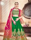 image of Banarasi Silk Fabric Designer Bridal Lehenga With Jacquard Work On Green