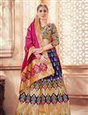 image of Jacquard Work Wedding Wear Lehenga Choli In Banarasi Silk Fabric Blue