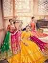 photo of Banarasi Silk Fabric Mustard Reception Wear Lehenga Choli With Jacquard Work