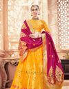 image of Banarasi Silk Fabric Mustard Reception Wear Lehenga Choli With Jacquard Work
