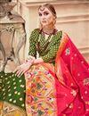photo of Jacquard Work Banarasi Silk Fabric Designer 3 Piece Lehenga In Green