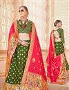 image of Jacquard Work Banarasi Silk Fabric Designer 3 Piece Lehenga In Green