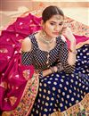 photo of Blue Sangeet Wear Lehenga With Jacquard Work In Banarasi Silk Fabric