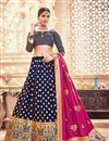 image of Blue Sangeet Wear Lehenga With Jacquard Work In Banarasi Silk Fabric