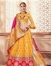 image of Jacquard Work On Wedding Wear Bridal Lehenga In Banarasi Silk Fabric Mustard With Blouse