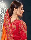 photo of Embroidery Work On Bhagalpuri Silk Fabric Party Wear Saree In Orange With Beautiful Blouse