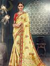 image of Yellow Designer Saree In Bhagalpuri Silk Fabric With Embroidery Designs And Attractive Blouse