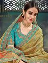 photo of Khaki Bhagalpuri Silk Fabric Designer Saree With Embroidery Work And Party Wear Blouse