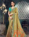 image of Khaki Bhagalpuri Silk Fabric Designer Saree With Embroidery Work And Party Wear Blouse