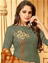 photo of Soothing Cotton Fabric Designer Dark Beige Straight Cut Salwar Kameez