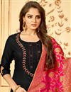 photo of Gorgeous Black Party Wear Straight Cut Salwar Suit In Cotton Fabric