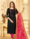 image of Gorgeous Black Party Wear Straight Cut Salwar Suit In Cotton Fabric
