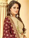 photo of Pleasing Cotton Fabric Designer Beige Embroidery Straight Cut Salwar Kameez