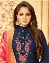 photo of Luxurious Cotton Fabric Party Wear Navy Blue Straight Cut Salwar Suit