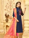 image of Luxurious Cotton Fabric Party Wear Navy Blue Straight Cut Salwar Suit