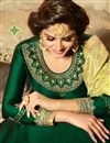 photo of Dark Green Party Wear Anarkali Salwar Suit In Satin Georgette Fabric With Embroidery Work
