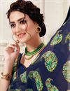 photo of Casual Wear Navy Blue Printed Georgette Fancy Saree