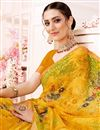 photo of Georgette Fancy Yellow Casual Wear Printed Saree