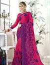 image of Thread Embroidered Function Wear Pink Saree In Fancy Fabric