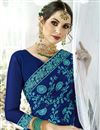 photo of Thread Embroidered Fancy Fabric Function Wear Navy Blue Saree