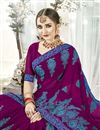 photo of Designer Fancy Fabric Purple Saree With Thread Embroidery