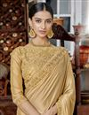 photo of Designer Fancy Fabric Beige Saree With Thread Work Embroidery
