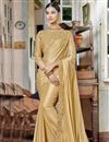 image of Designer Fancy Fabric Beige Saree With Thread Work Embroidery