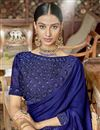 photo of Designer Fancy Fabric Blue Saree With Thread Work Embroidery