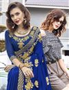 photo of Function Wear Blue Saree In Georgette With Thread Embroidery Work