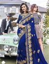 image of Function Wear Blue Saree In Georgette With Thread Embroidery Work