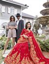 photo of Georgette Function Wear Red Designer Saree With Thread Embroidery